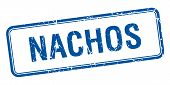 picture of nachos  - nachos blue square grungy vintage isolated stamp - JPG