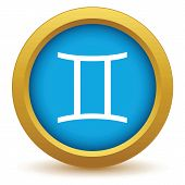 picture of gemini  - Gold Gemini icon on a white background - JPG