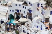 stock photo of canopy roof  - the hotel in the Ia Santorini Greece - JPG