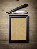 picture of razor  - Vintage straight razor blade and blank canvas - JPG