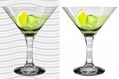 Постер, плакат: Transparent And Opaque Realistic Martini Glasses With Martini Lemon And Ice Cube