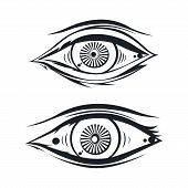 image of freemason  - abstract eye theme vector graphic art illustration - JPG