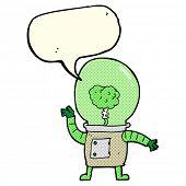 foto of cyborg  - cartoon robot cyborg with speech bubble - JPG
