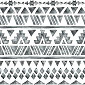 picture of aztec  - Ethnic watercolor seamless pattern - JPG