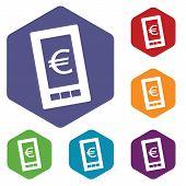 image of tariff  - Euro phone rhombus icons set in different colors - JPG