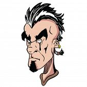 stock photo of mohawk  - weird face with mohawk cartoon illustration - JPG