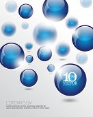 foto of orbs  - eps10 vector 3d floating blue round sphere orb business elements background - JPG