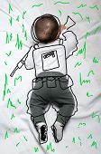 stock photo of army soldier  - Cute infant baby boy army soldier sketch - JPG