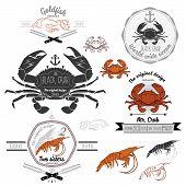 picture of crab  - Set of vintage seafood labels - JPG