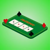 image of roulette table  - Casino set on a green background - JPG