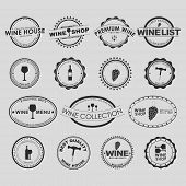 picture of food logo  - Set of vintage logo on a white background for wine shops cafes or restaurants - JPG