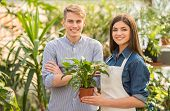 stock photo of flower shop  - Female florist and young male looking at camera in flower shop - JPG