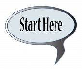 image of start over  - Start here speech bubble over a white background - JPG