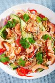 foto of cilantro  - Asian salad with rice noodles shrimps peanuts peppers cucumber and cilantro