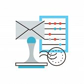 image of statements  - Thin line icon with flat design element of company accounting business correspondence calculation of tax verification of financial statements - JPG