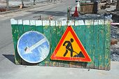 stock photo of road construction  - Sign and fence on road construction work - JPG