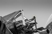 picture of scrap-iron  - A single sparrow rests on top of scrap metal - JPG