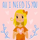 pic of you are awesome  - Vector Greeting card for Valentine - JPG