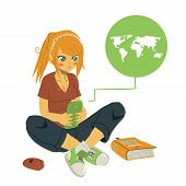 picture of post-teen  - The vector illustration of young girl writing message on her mobile phone - JPG
