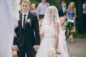 stock photo of ceremonial clothing  - beautiful wedding ceremony outdoors in the woods - JPG