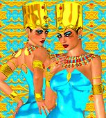 picture of nefertiti  - Egyptian twin women in gold and turquoise symbolizing the unity of upper and lower Egypt in our unique digital art fantasy style - JPG
