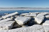 picture of crevasse  - Sea ice is destroyed in the spring White sea Russia - JPG