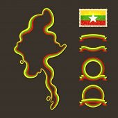 picture of nationalism  - Outline map of Myanmar  - JPG