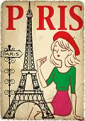 image of french beret  - Pretty girl in the Paris graphic vector design - JPG