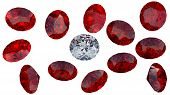 Large Diamond Among Red Rubies