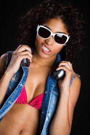 picture of gangsta  - Beautiful black music hip hop star woman - JPG