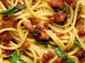 picture of carbonara  - close up of italian spaghetti carbonara food background - JPG