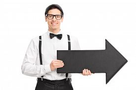 picture of bow arrow  - Elegant young man with black bow - JPG