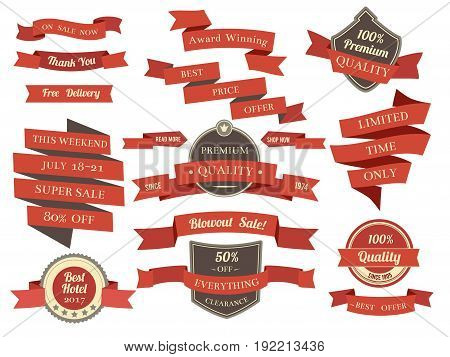 poster of Shopping banners and ribbons with promotion text. Different discounts and offers. Vector illustration in flat style. Shopping template ribbon collection, label banner wave