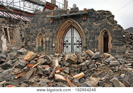 The front door is all that remains of this central city Church after a massive 7.1 richter scale earthquake in Christchurch New Zeland.