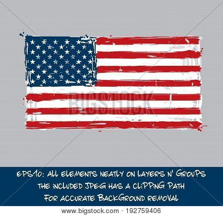 American Flat Flag - Vector Artistic Brush Strokes and Splashes. Grunge Illustration all elements neatly on layers and groups. The JPEG has a clipping path for accurate background removal