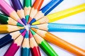 Colorful Pencils In Arrange In Color Wheel Colors poster