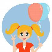 Cartoon Mädchen mit Luftballons