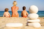 Family On The Sunny Beach - Exotic Vacation poster