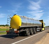 image of fuel tanker  - Big fuel gas tanker truck on highway - JPG
