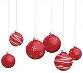 stock photo of christmas ornament  - Red Christmas ornaments vector - JPG