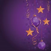 Purple Christmas ornaments on deep color background. Gold stars as highlight colors.