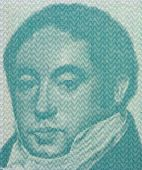 ARGENTINA - CIRCA 1985: Bernardino Rivadavia on 1 Austral 1985 Banknote from Argentina. First president of Argentina during 1826-1827.