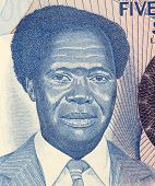 UGANDA - CIRCA 1983: Milton Obote (1925-2005) on 500 Shillings 1983 Banknote from Uganda. Political