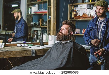 Hipster Bearded Client Got Hairstyle