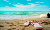 Pink And White Sandals On Sand Beach. Casual Style Flip-flop Were Removed At Seaside. Summer Vacatio poster