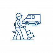 Express Logistics Line Icon Concept. Express Logistics Flat  Vector Symbol, Sign, Outline Illustrati poster