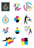 stock photo of dtp  - Several icons of printing for use on a company emblem - JPG