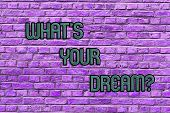 Conceptual Hand Writing Showing What S Your Dream. Business Photo Text Tell Us Demonstratingal Wishe poster