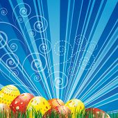 Easter background with colorful easter eggs over blue background.