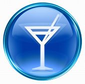 Wine-Glass Icon Blue, Isolated On White Background.